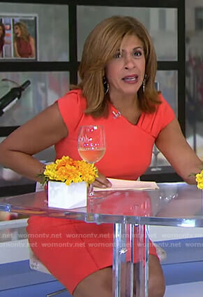 Hoda's orange v-neck dress on Today