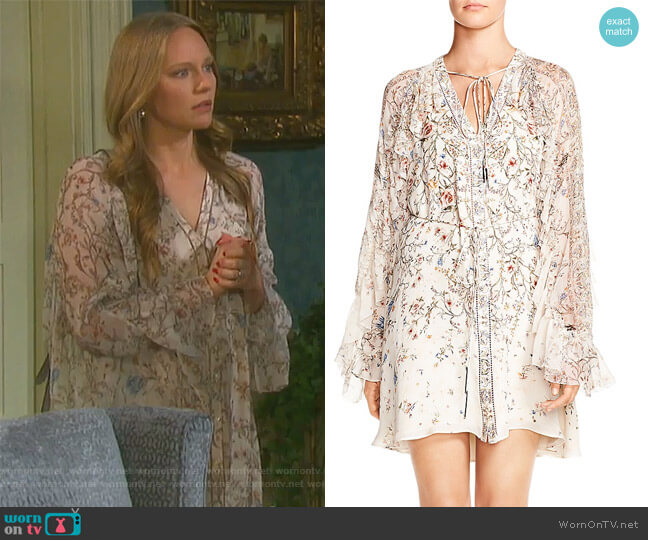 Romani Ruffled Floral-Print Silk Dress by Haute Hippie worn by Abigail Deveraux (Kate Mansi) on Days of our Lives