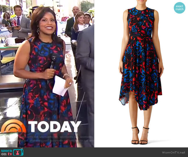 Floral Asymmetrical Dress by Hunter Bell worn by Sheinelle Jones on Today