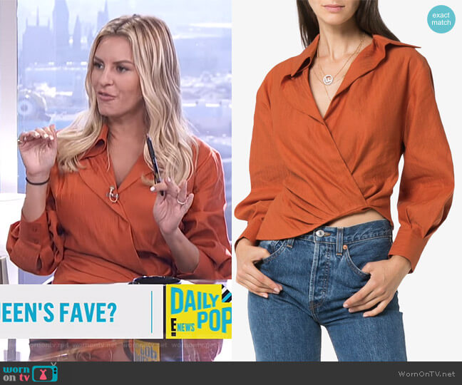 Wrap Asymmetric Linen Cotton Blend Blouse by Jacquemus worn by Morgan Stewart  on E! News