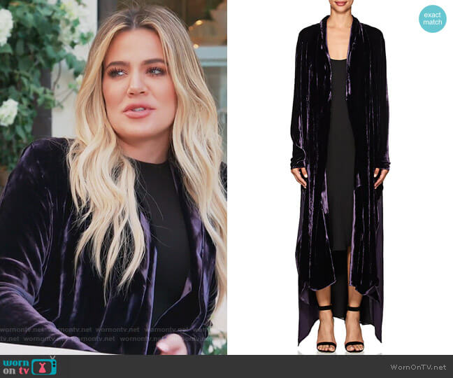Victoria Velvet Robe Coat by Juan Carlos Obando worn by Khloe Kardashian  on Keeping Up with the Kardashians