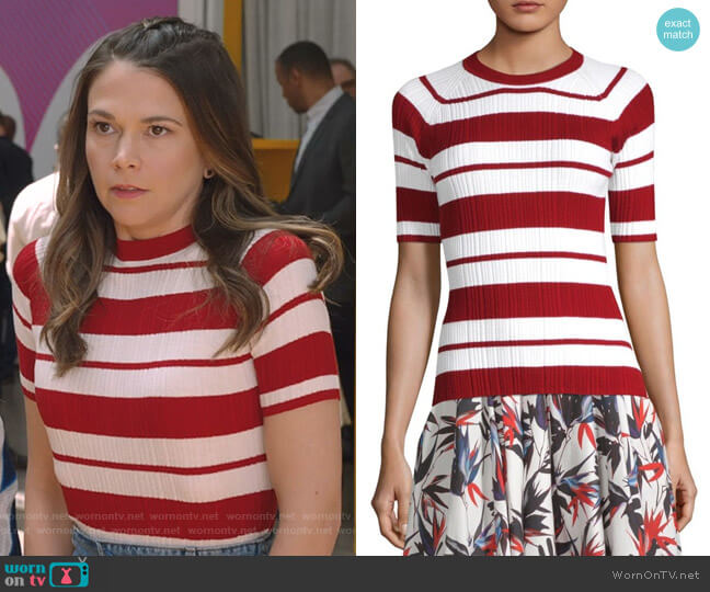 Striped Crewneck Sweater by Jason Wu worn by Sutton Foster on Younger
