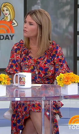 Jenna's orange floral midi dress on Today