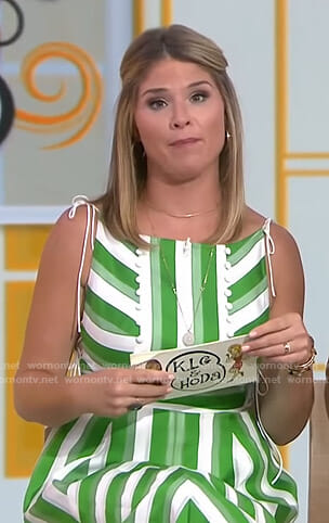 Jenna's white and green striped dress on Today