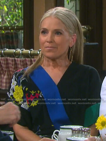 Jennifer's black floral jumpsuit on Days of our Lives