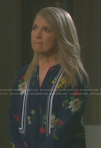 Jennifer's navy floral blouse on Days of our Lives