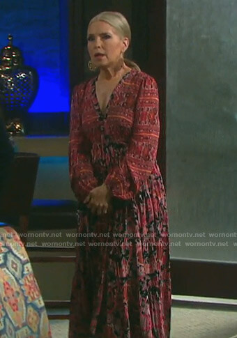 Jennifer's red floral maxi dress on Days of our Lives