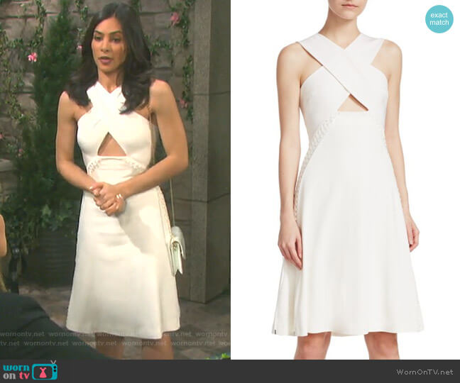 Lace-Up Cutout Dress by Jonathan Simkhai worn by Camila Banus on Days of our Lives