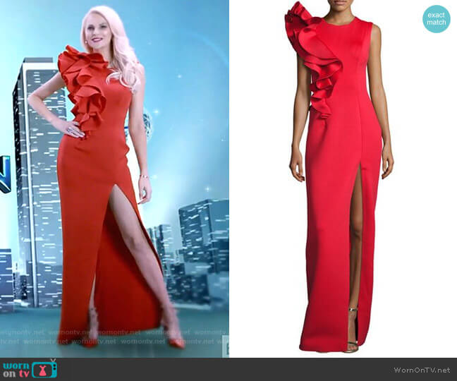 Sleeveless Ruffle-Trim Crepe Column Gown by Jovani worn by Kameron Westcott  on The Real Housewives of Dallas