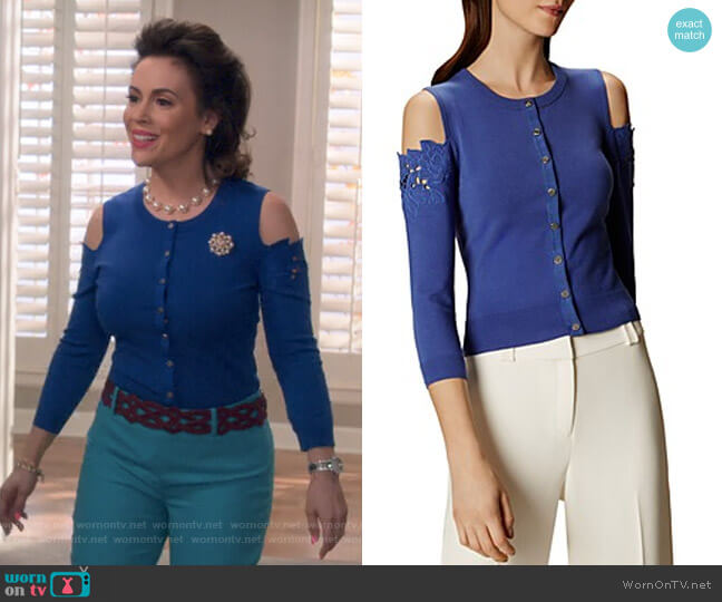Floral Cold-Shoulder Cardigan by Karen Millen worn by Alyssa Milano on Insatiable