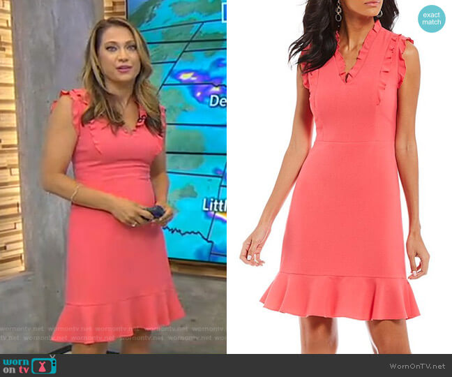 V Neck Ruffle Flutter Dress by Karl Lagerfeld Paris worn by Ginger Zee on Good Morning America