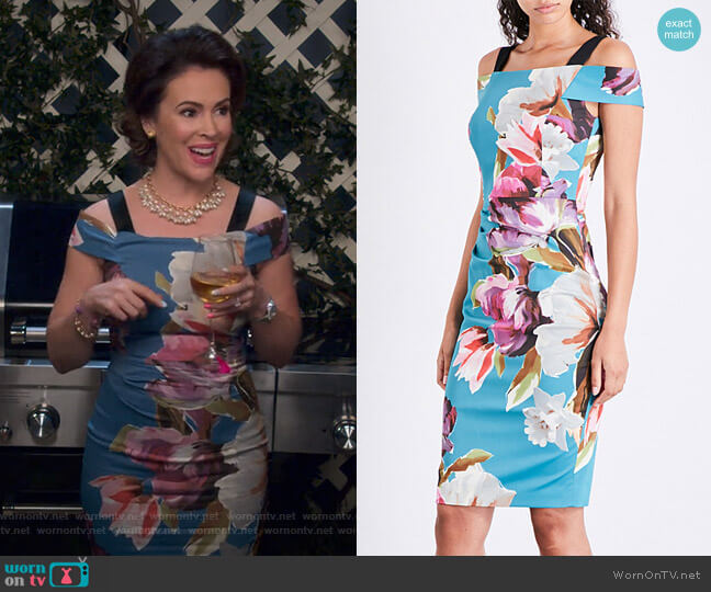 Painterlily Cold-Shoulder Dress by Karen Millen worn by Coralee Armstrong (Alyssa Milano) on Insatiable