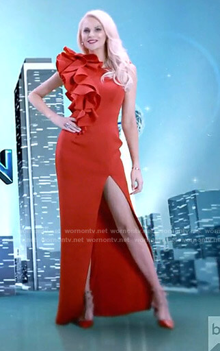 Kameron's red ruffled opening scene gown on The Real Housewives of Dallas