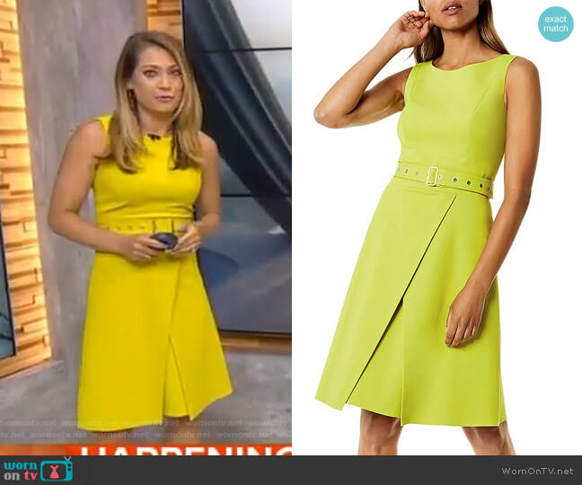 Belted A-Line Dress by Karen Millen worn by Ginger Zee (Ginger Zee) on Good Morning America
