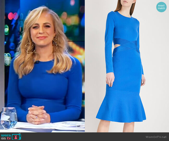 Cutout flared-hem jersey dress by Karen Millen worn by Carrie Bickmore  on The Project