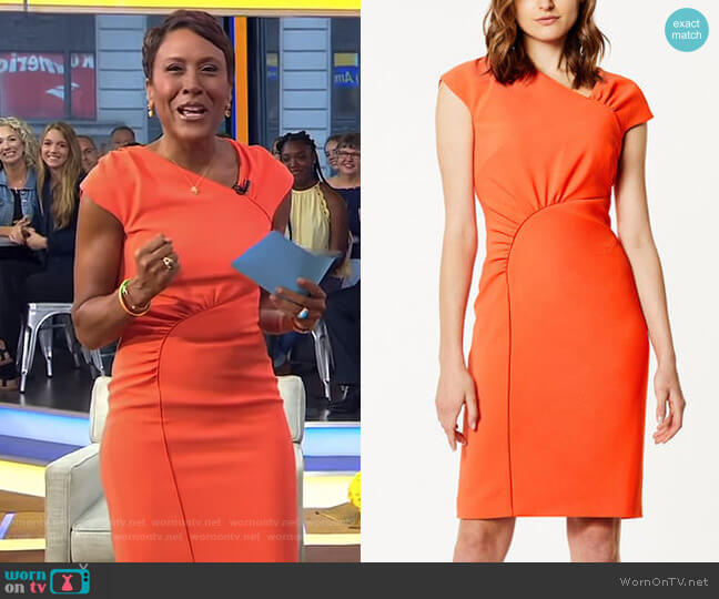 Gathered Dress by Karen Millen worn by Robin Roberts on Good Morning America