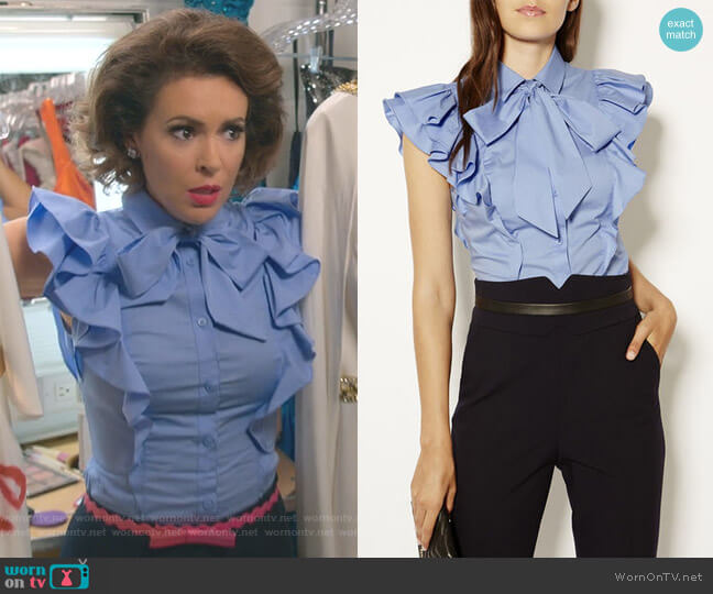 Pussy-Bow Frill Shirt by Karen Millen worn by Coralee Armstrong (Alyssa Milano) on Insatiable