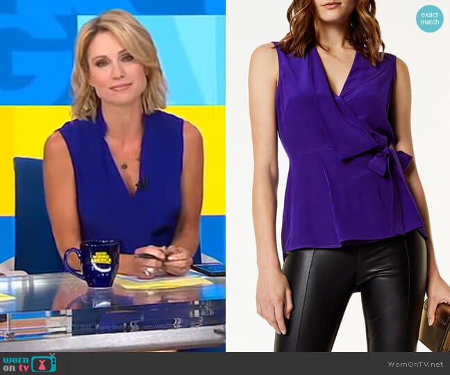 Wrap Top by Karen Millen worn by Amy Robach on Good Morning America