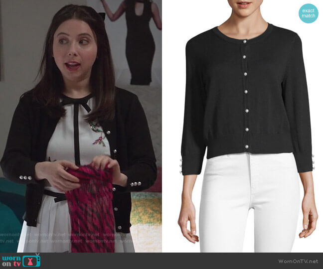 Lace Button-Front Cardigan by Karl Lagerfeld  worn by Esther Povitsky  on Alone Together
