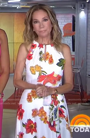 Kathie's white floral keyhole dress on Today
