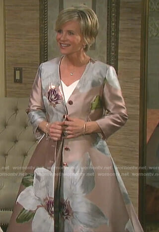 Kayla's floral dress coat on Days of our Lives