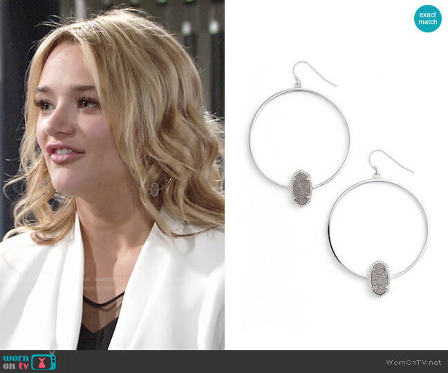 Kendra Scott Elora Hoop Earrings worn by Hunter King on The Young & the Restless