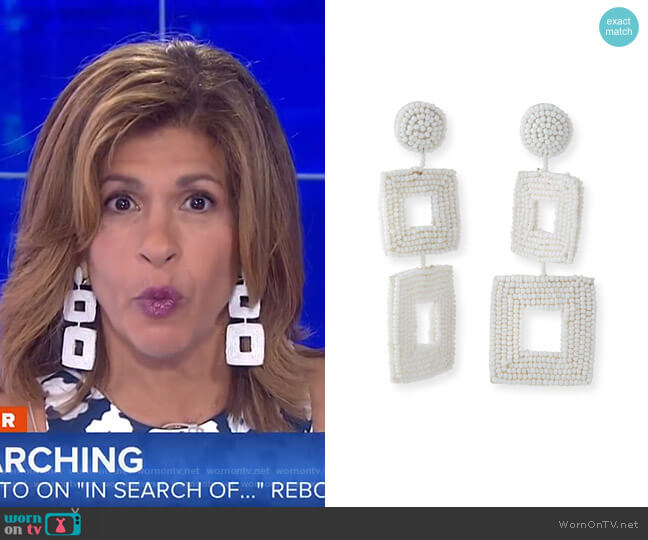 Double Square Seed Bead Drop Earrings by Kenneth Jay Lane worn by Hoda Kotb (Hoda Kotb) on Today