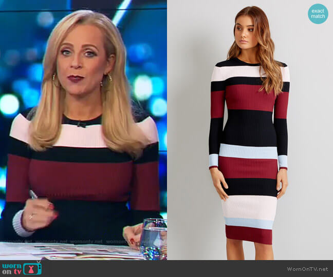 Clover Stripe Dress by Kookai worn by Carrie Bickmore on The Project