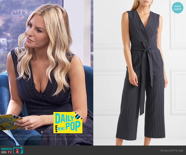 Joslyn Linen Striped Jumpsuit by L'Agence worn by Morgan Stewart on E! News