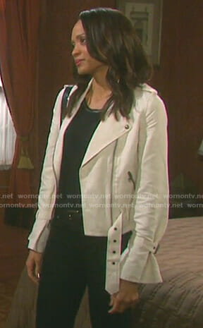 Lani's white moto jacket on Days of our Lives