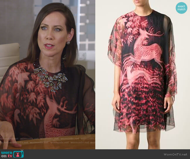 Deer Print Sheer Dress by Lanvin worn by Miriam Shor on Younger