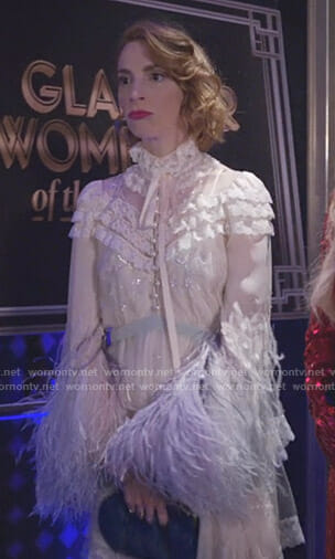 Lauren's white feather trimmed lace dress on Younger
