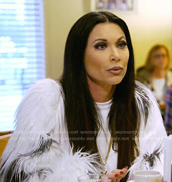LeeAnne's white fur sleeve sweatshirt on The Real Housewives of Dallas