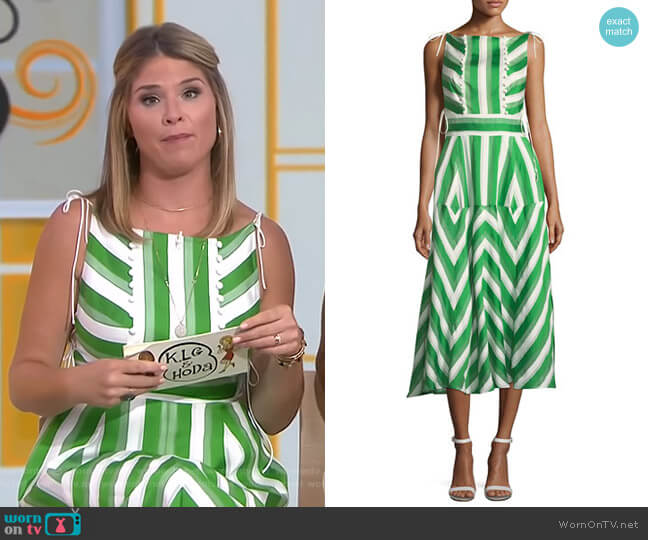 Organza Striped Jacquard Long Dress by Lela Rose worn by Jenna Bush Hager on Today