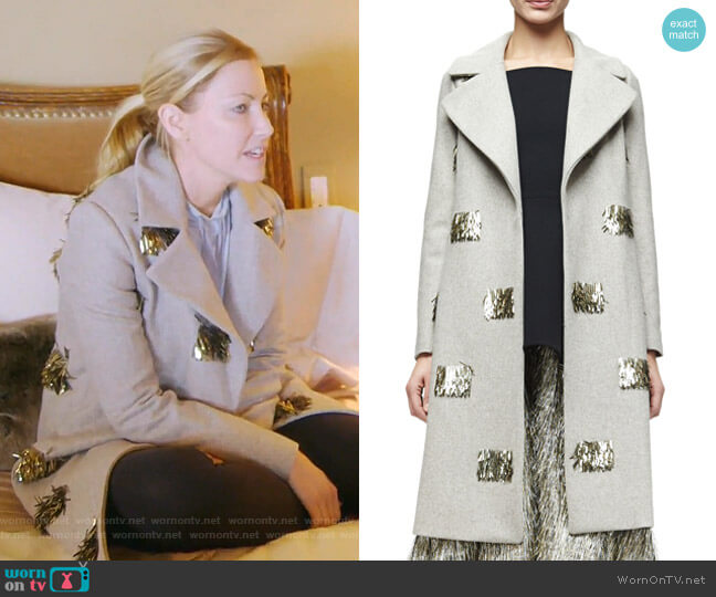 Metallic Fringe-Embellished Long Coat by Lela Rose worn by Stephanie Hollman on The Real Housewives of Dallas