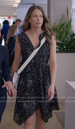 Maggie's black floral wrap dress on Younger