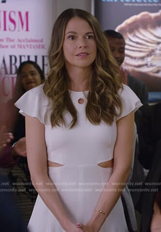 Liza's white cutout midi dress on Younger