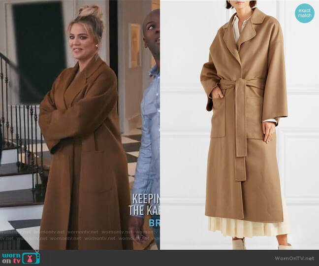 Oversized belted wool and cashmere-blend coat by Loewe worn by Khloe Kardashian  on Keeping Up with the Kardashians