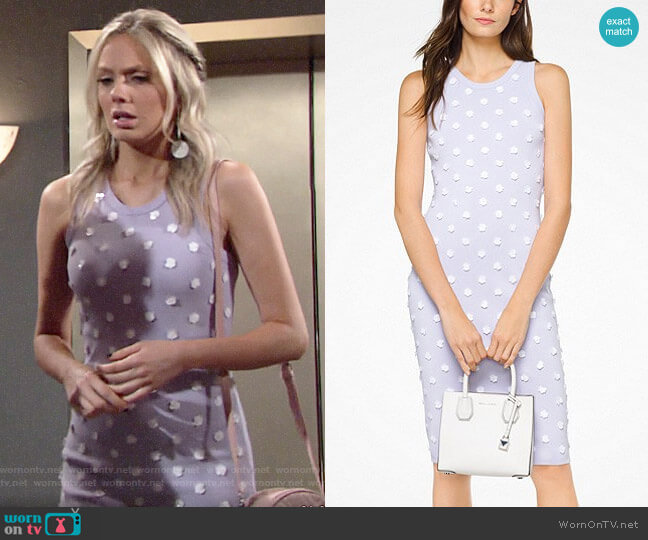 MICHAEL Michael Kors Floral Embellished Stretch-Viscose Dress worn by Abby Newman (Melissa Ordway) on The Young & the Restless