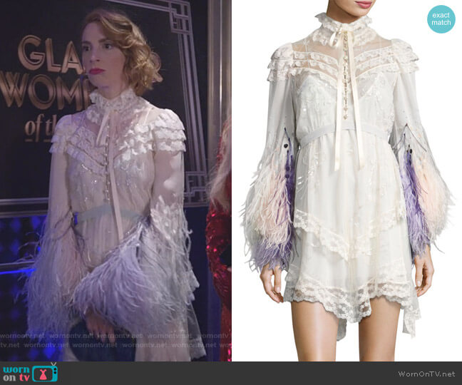 Feather-Embellished Lace Mini Dress by Marc Jacobs worn by Molly Bernard on Younger