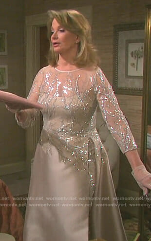 Marlena's beige embellished gown on Days of our Lives