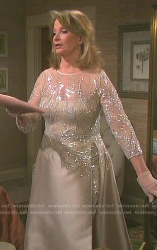 Marlena's beige embellished gown on Days of our Lives