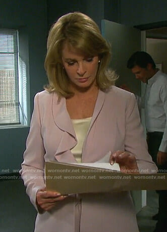 Marlena's pink ruffled blazer on Days of our Lives