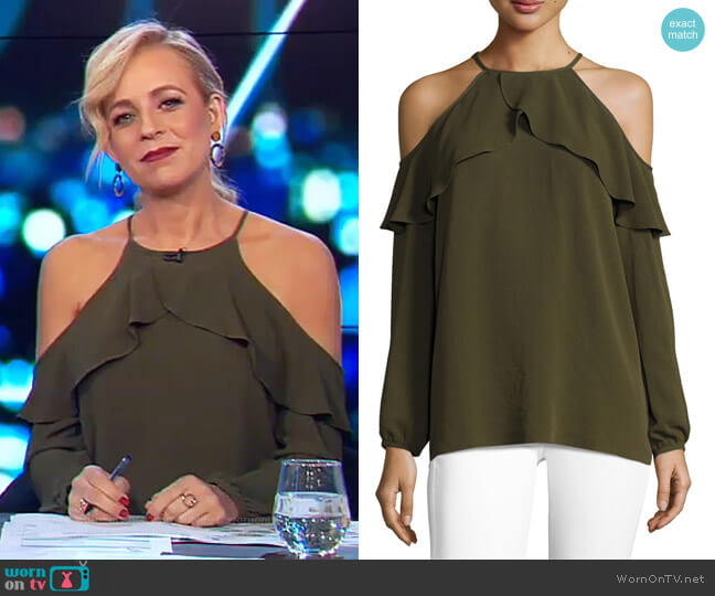 Long-Sleeve Cold-Shoulder Knit Flounce Top by Michael Michael Kors worn by Carrie Bickmore  on The Project