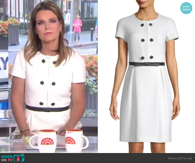 Wool Button Shift Dress by Michael Kors Collection worn by Savannah Guthrie on Today