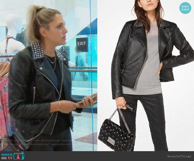 Studded Faux-Leather Jacket by Michael Michael Kors worn by Gina Kirschenheiter  on The Real Housewives of Orange County