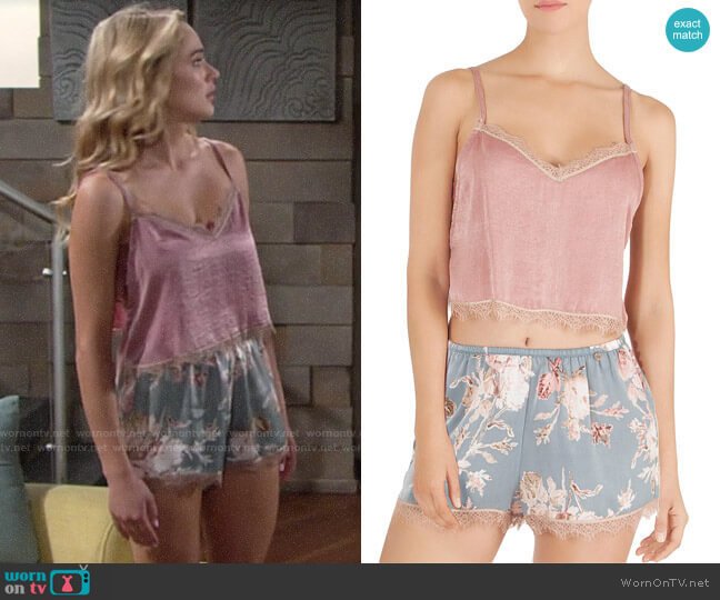 Midnight Baker Cropped Cami and Floral Shorts worn by Hunter King on The Young & the Restless