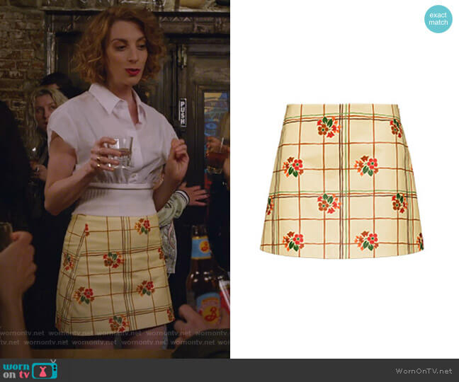Floral Grid Mini Skirt by Miu Miu worn by Molly Bernard on Younger