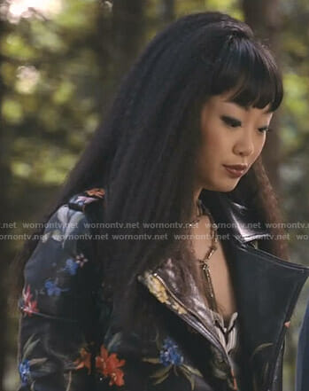 Monica's black floral moto jacket on Take Two