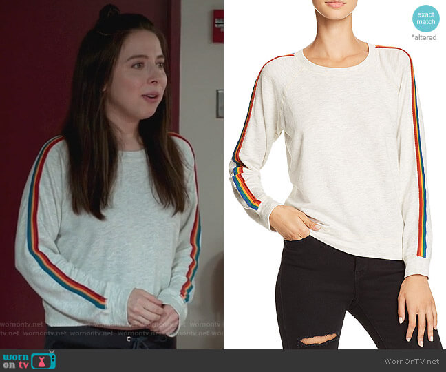 Rainbow-Stripe Sweatshirt by Monrow worn by Esther Povitsky (Esther Povitsky) on Alone Together